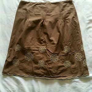 Pre-owned Brown Skirt fully lined size 8P